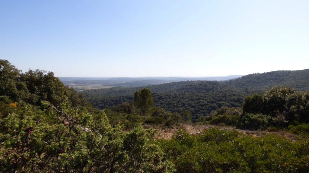 Vue sur Montpellier depuis le sentier de randonnée pour le Pic Saint-Loup