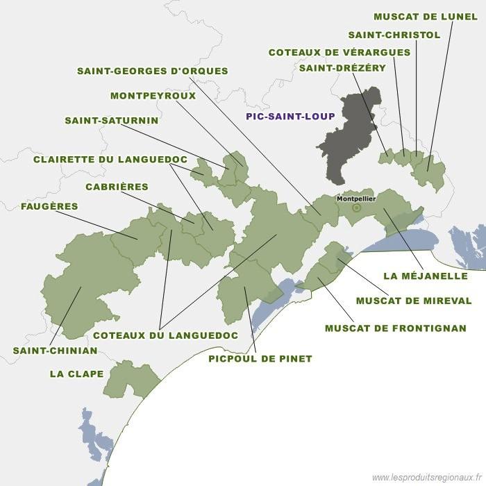 Carte des appellations Languedoc et localisation de l'appellation Pic Saint-Loup