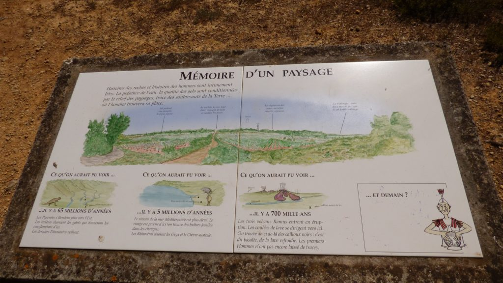 Panneau indicatif expliquant l'évolution du paysage de Pinet