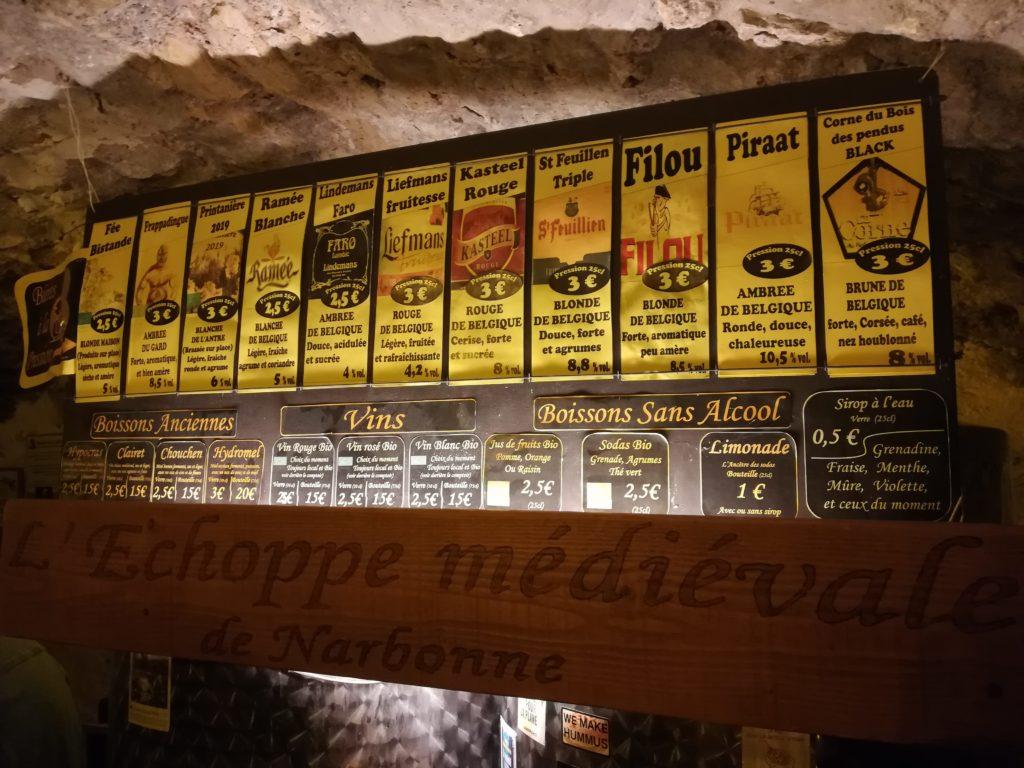 Bières proposées à l'antre de l'échoppe, bar de Narbonne