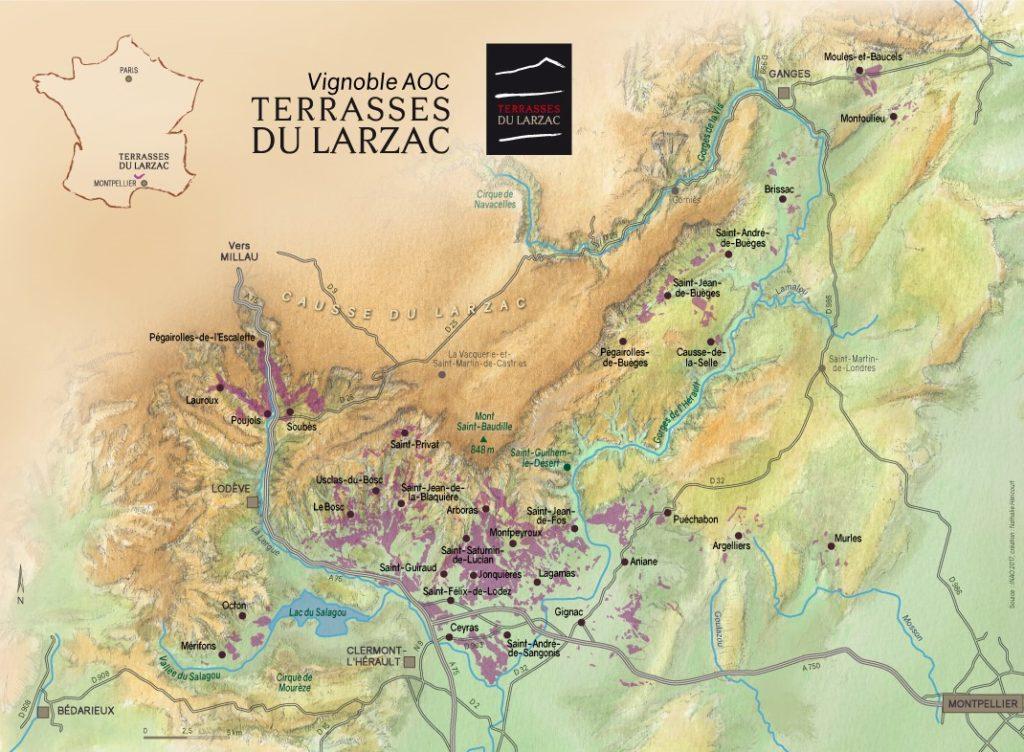 Carte terrasses du Larzac